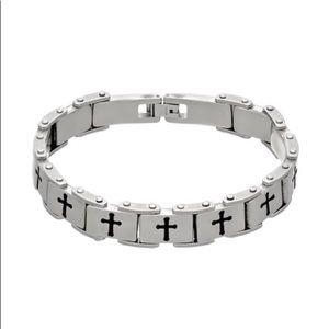 Men's stainless steel link cross Bracelet